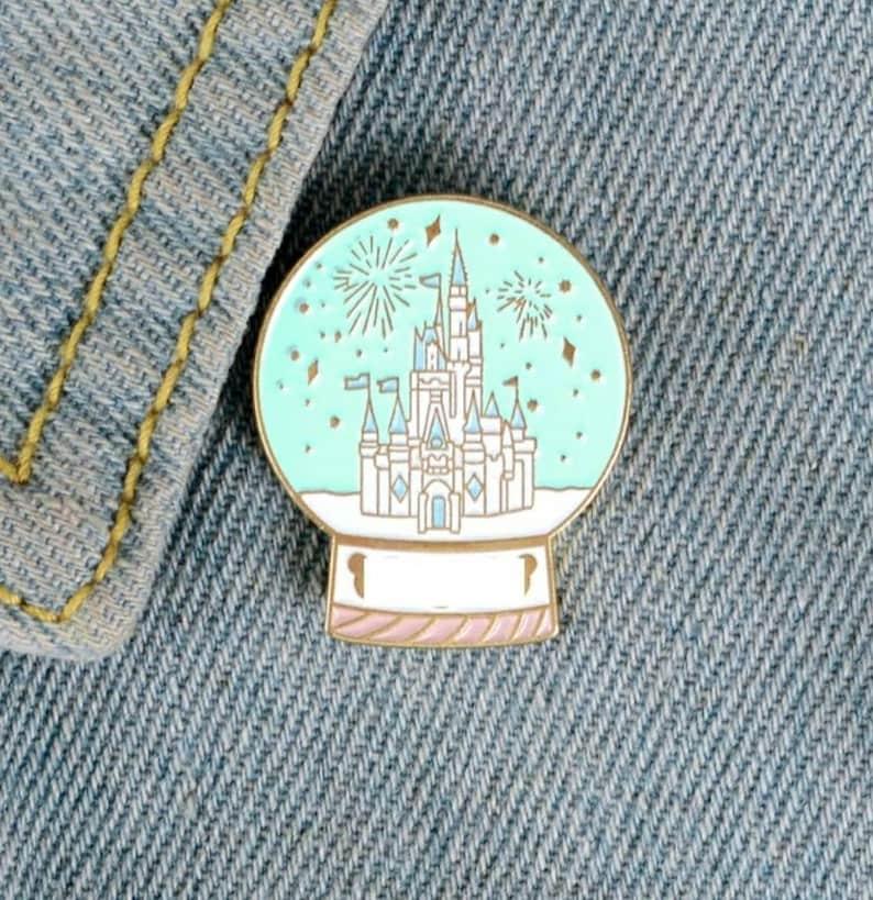 Princess Palace Castle Globe Badge  Pin Snowglobe Magic California Paris Magical Mouse
