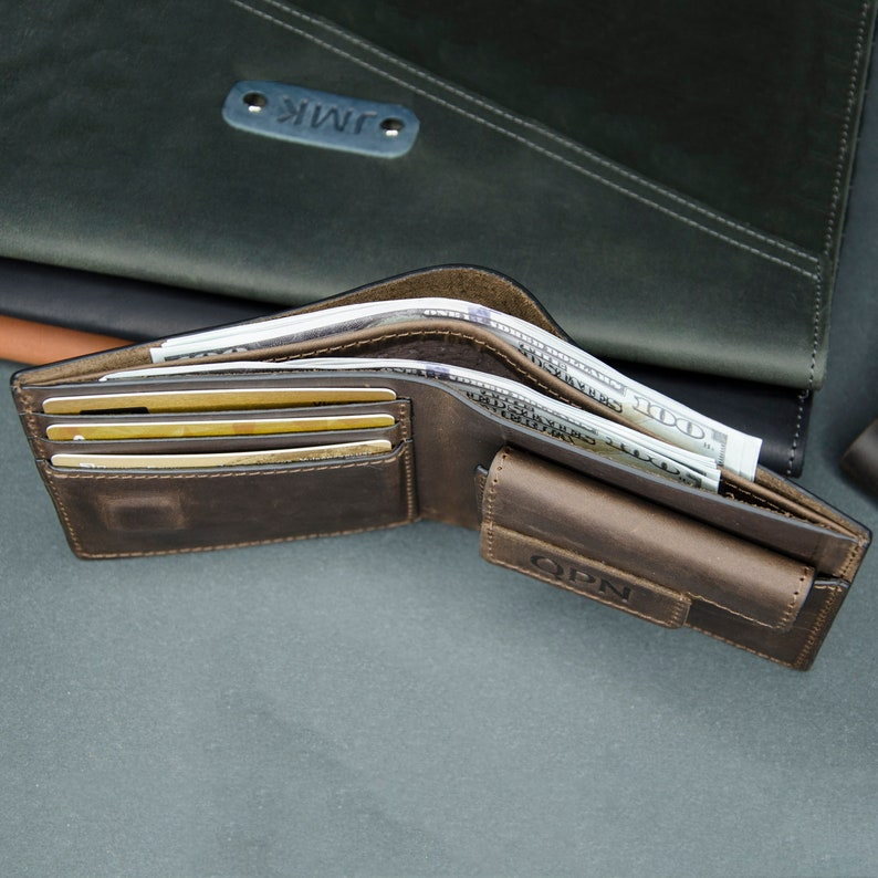 Mens leather wallet personalized gift Mens leather bifold wallet Slim bifoid leather wallet Mens leather wallet whith coin pocket