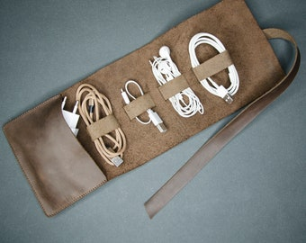 Personalized leather cord organizer, Leather cable organizer, Electronic organizer, Leather cord roll Leather cable roll, Leather cable wrap