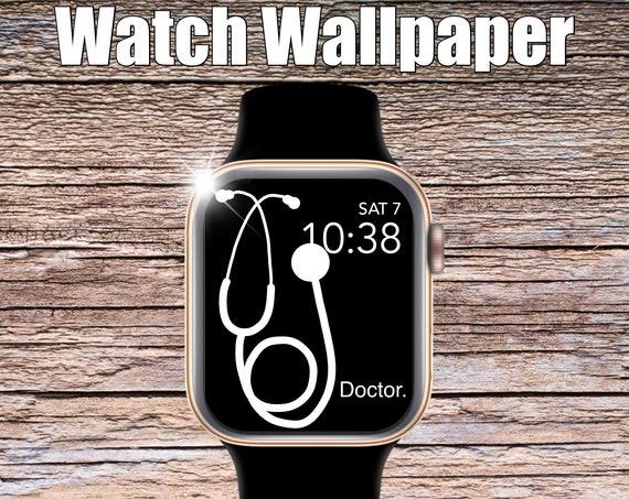 White Stethoscope Apple Watch Wallpaper, Apple Watch face, watch face cover, Watch Background, doctor wallpaper, Apple Watch design, fun