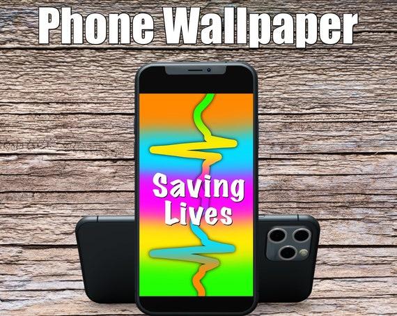 Rainbow Saving Lives Phone Wallpaper, Science Art, Doctor Art, Digital Wallpaper, Screensaver