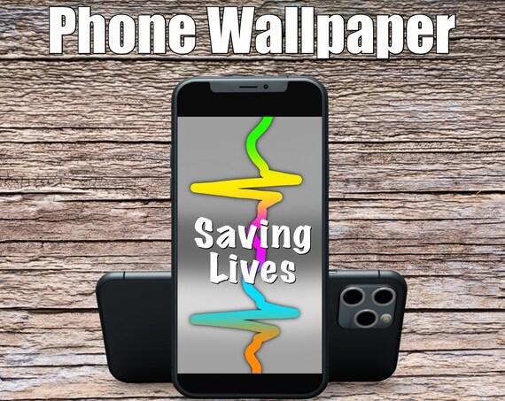 Grey Saving Lives Phone Wallpaper, Science Art, Doctor Art, Digital Wallpaper, Screensaver