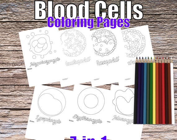 Blood Cells, 7-in-1 Coloring Pages, Downloadable and Printable