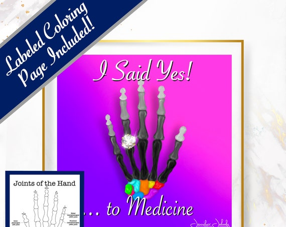 I Said Yes to Medicine, Printable, 30 x 30 Wall Art, Coloring Page Included