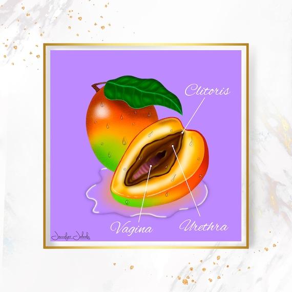 Chocolate- Fruity Juicy Labia, Printable, 30 x 30 Wall Art, Mangoes
