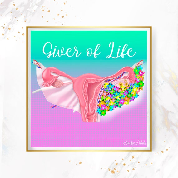 Giver of Life, Printable, 30 x 30 Wall Art, Uterus Art, Pregnancy Gift, Midwifery, Gynecology, Flowers