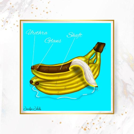 Chocolate- Fruity Juicy Phallus, Printable, 30 x 30 Wall Art, Bananas