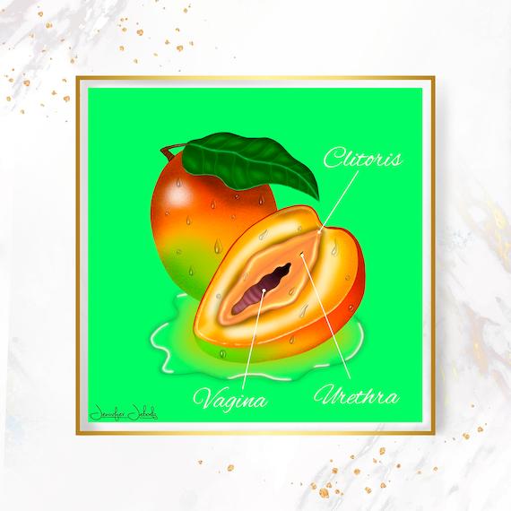 Vanilla- Fruity Juicy Labia, Printable, 30 x 30 Wall Art, Mangoes