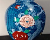 Beautiful arita vase peony and plum flowers printed antique