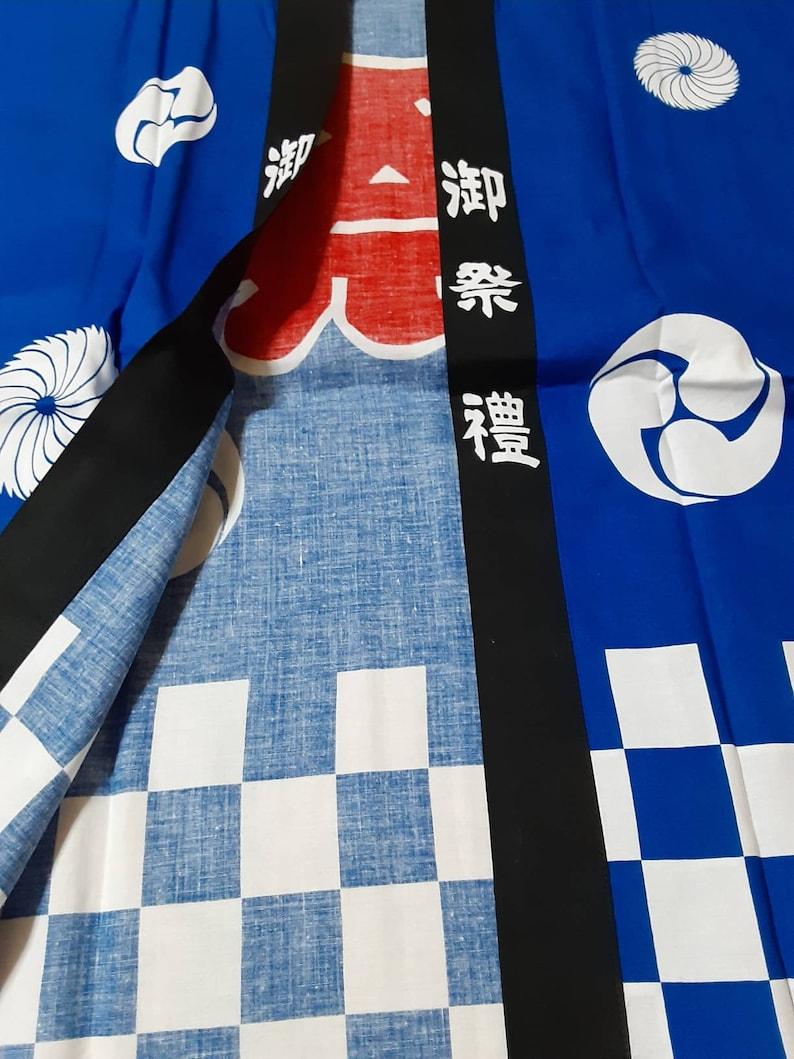 printed Japanese happi coat and headband and belt  cool kanji \u796d : festival