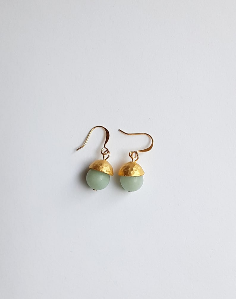 Amazonite with Hammered Gold Cap Drop Earrings