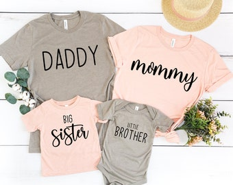 Family Matching Shirts   Coordinating Shirts For Mom Dad Big Sister Little Brother   Mommy And Me   Sibling Tees   Pregnancy Announcement