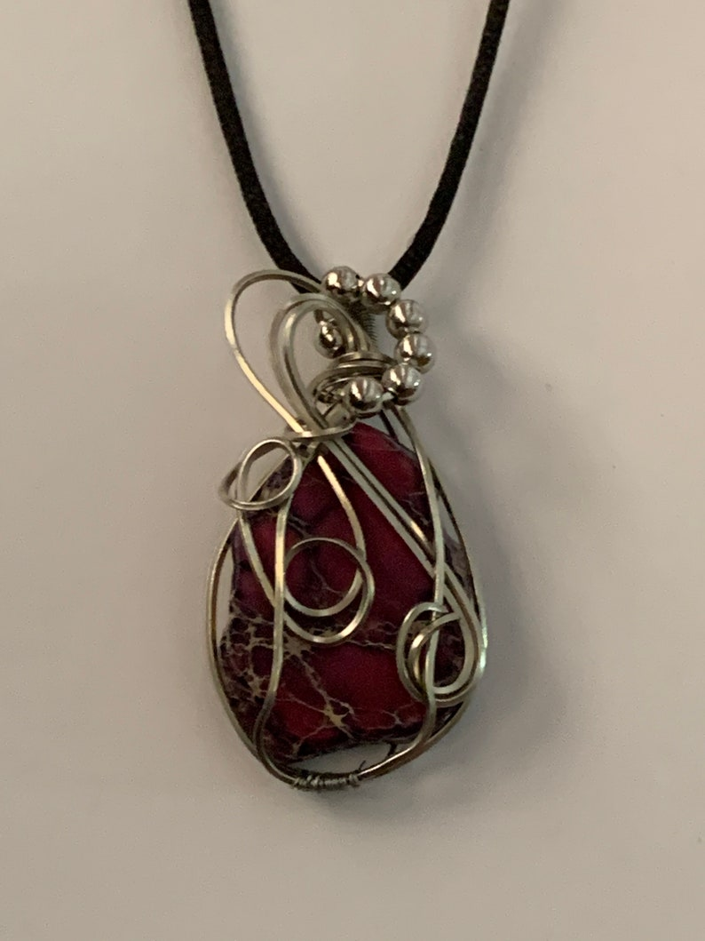 purple composite stone wire wrapped pendant