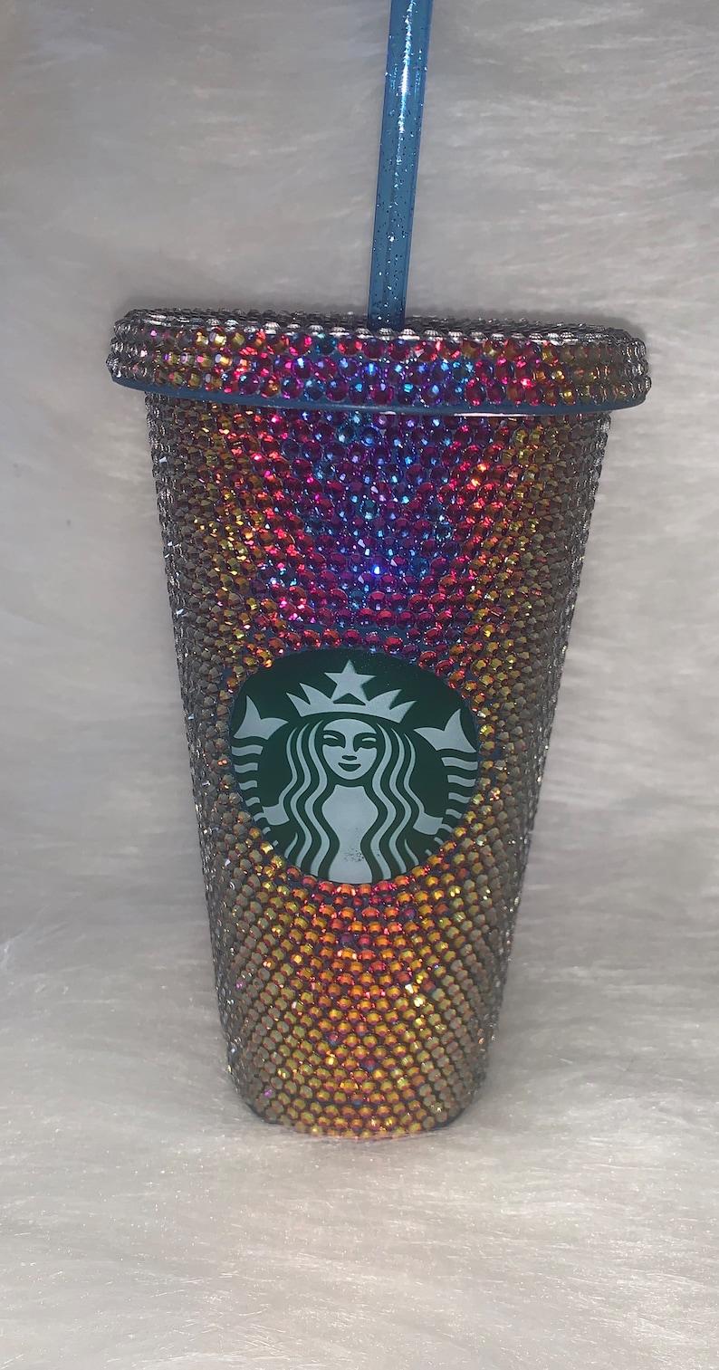 oil slick rhinestone tumbler Oil slick  Starbucks bling cup custom Starbucks cups