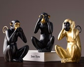 Three Wise Monkeys Statue Monkey Figurines Chinese Zodiac Sculpture Home Decor Feng Shui Decor Ornament Decoration