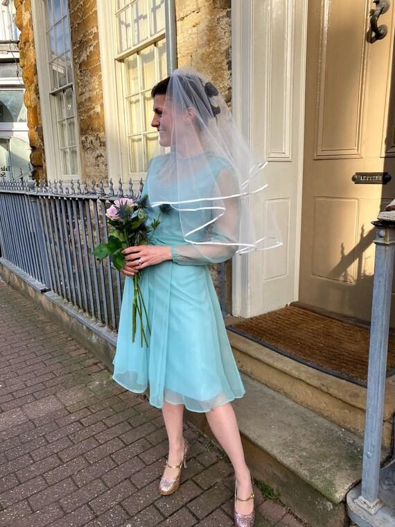 1960s beautiful green blue chiffon dress