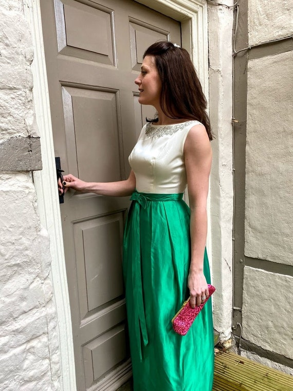 1960s green and ivory satin dress