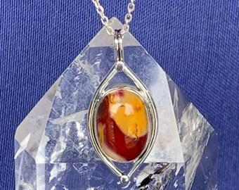 Mokaite jasper and silver pendant