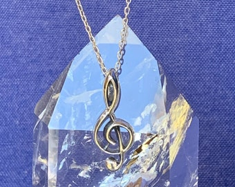 Treble clef pendant made with sterling silver musician necklace G key