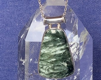 Seraphinite pendant set with sterling silver