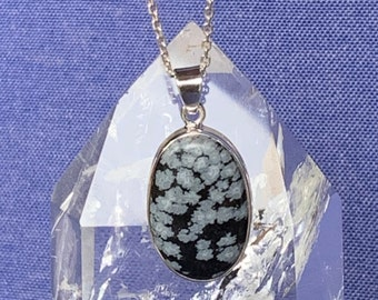 Snowflakes obsidian pendant set with sterling silver