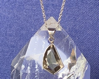 Smokey quartz and sterling silver pendant facetted gemstone