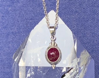 Pink tourmaline pendant set with sterling silver natural gemstone