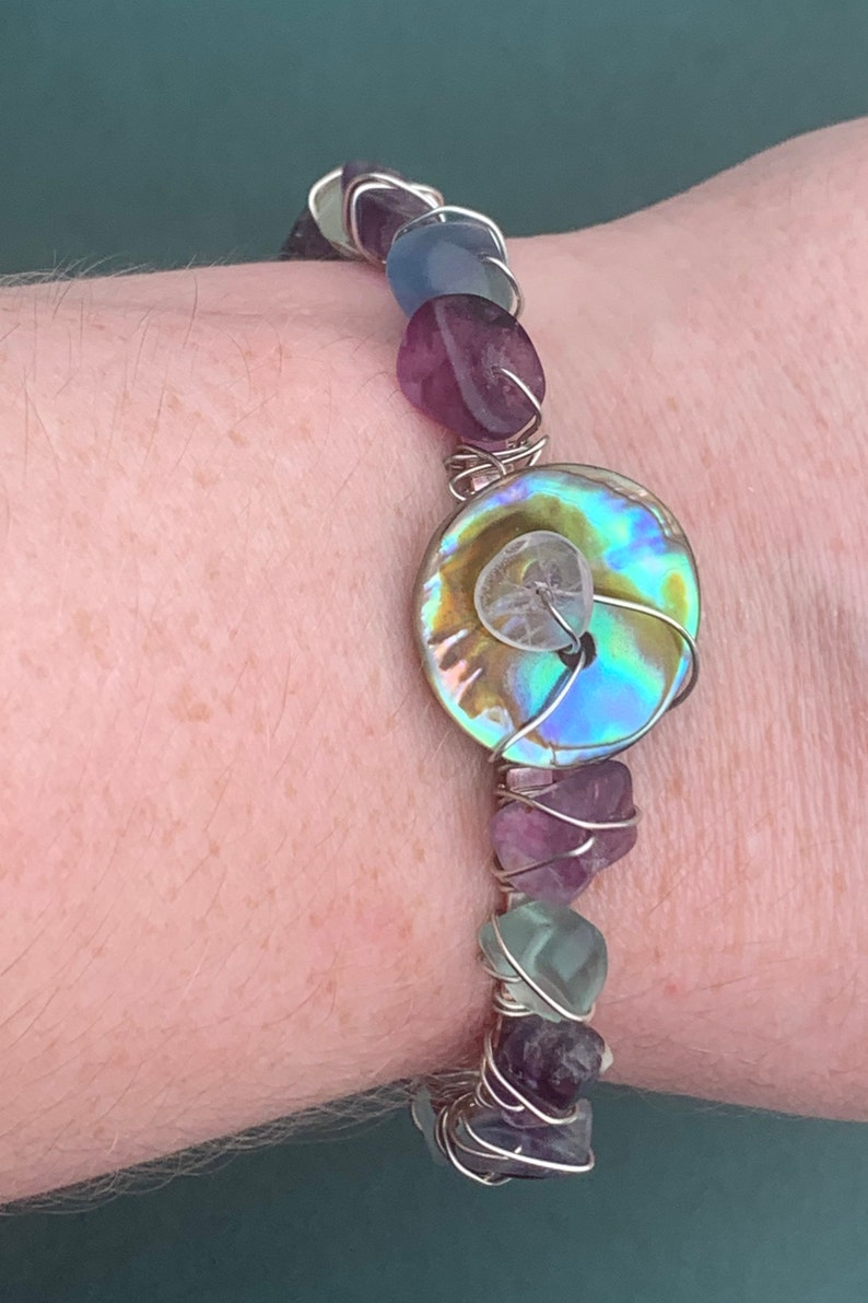 Adjustable Cuff Bracelet Boho Bracelet Silver Wire Wrapped Cuff Bracelet with Fluorite Chip Beads and Abalone Shell Button