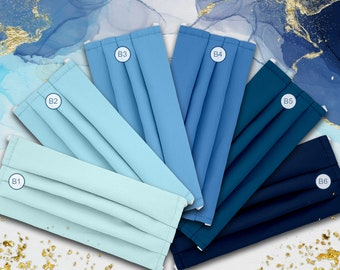 Solid Blue, Light Blue, Sky, Baby Blue, Water, Indigo, Navy DUAL LAYER 100% Cotton Pleated Face Mask. Washable Reusable. Made in the USA
