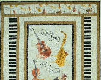 Wilmington fabric package 3 x 25 cm x110 cm musical instruments and sheet music MUSICAL GIFT