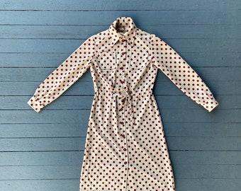 Vintage 50s/60s Polka Dot Collared Long Sleeve Dress