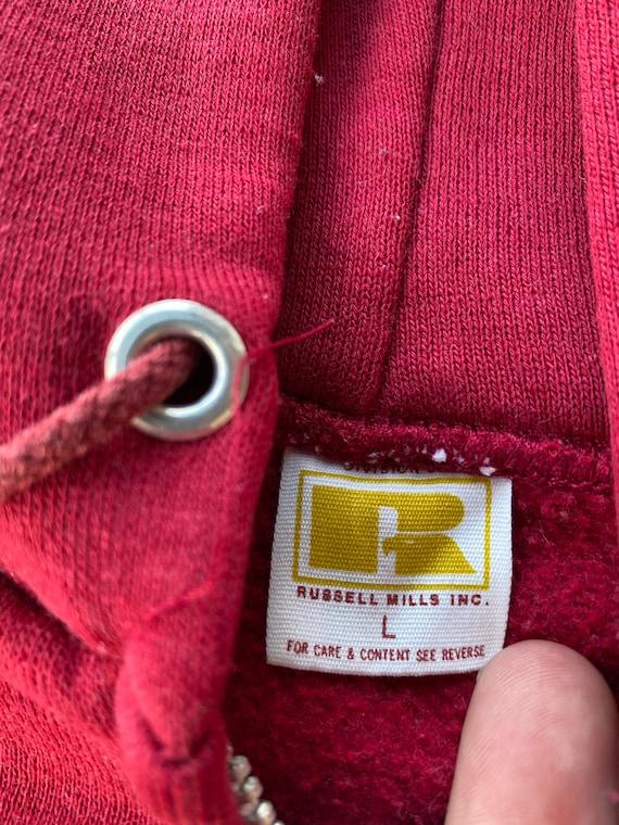 Vintage 1970s Russell Athletic Red Zip Up Hoodie - image 2