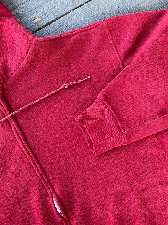 Vintage 1970s Russell Athletic Red Zip Up Hoodie - image 3