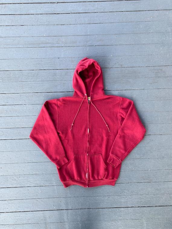 Vintage 1970s Russell Athletic Red Zip Up Hoodie - image 1