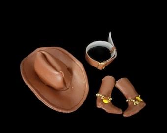 Cowboy hat, boots and belt for Barbie or Ken dolls