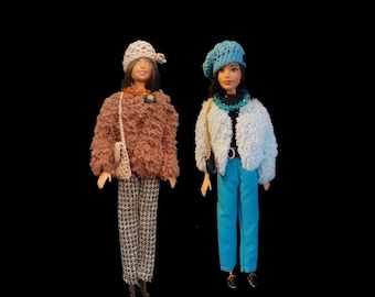 Teddy jacket, trousers, t-shirt, beret, belt, beads, handbag and shoes for Barbie
