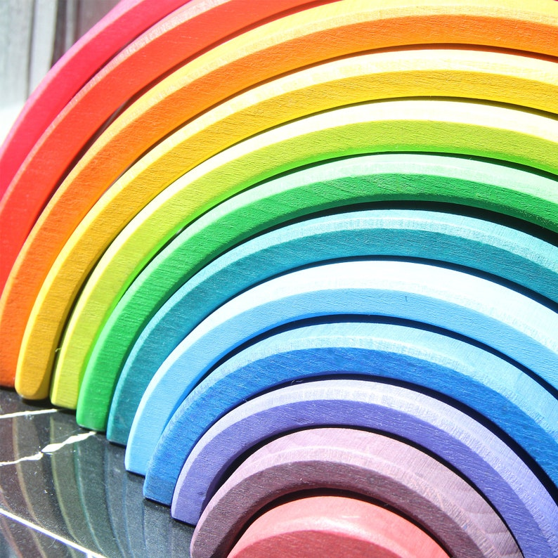 12pcs Wooden Rainbow StackerLarge Rainbow ToyStacking ToyToddlers ToyNursery Decoration Best Birthday Gift for Toddlers,Kids and Baby