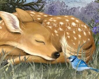 Sleeping Fawn Set of 8 Notecards, Deer Art, Animal Notecards, Nursery Art, Baby Cards, Blank Notecards, Animal Art, Sleeping Deer, Nature