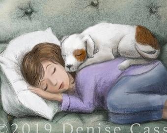 "Cuddle Time 11""x14"" Art Print, Dog Print, Animal Print, Dog Art, Puppy Art, Kids Room Decor, Dog Mom, Dog Lover, Wall Decor, Nursery Art"