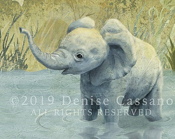 "Baby Elephant 11""x14"" Print, Elephant Art, Baby Animals, African Animals, Nursery Animals, Nursery Art, Elephants, Safari Animal, Wall Decor"