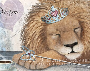 "Dream Like a Lion 11""x14"" Print, Lion Print, Animal Print, Lion Art, Jungle Animal, African Animals, Kids' Room Decor, Nursery Art"