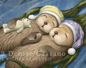 Sleeping Otters Set of 8 Notecards, Otter Art, Animal Notecards, Otters, Blank Notecards, Cute Animals, Nursery Art, Sleeping Animals