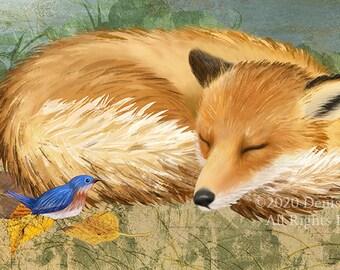 "Sleeping Fox 11""x14"" Print, Fox Art, Animals, Wall Decor, Nursery Animals, Nursery Art, Blue Birds, Wildlife Art, Sleeping Animals"