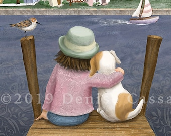 I'm Home Set of 8 Notecards, Dog Art, Animal Notecards, Puppies, Dog Mom, Blank notecards, Pets, Sailing, Home,