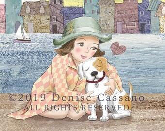 "Love You 8""x10"" Print, Dog Mom, Dog Art, Dog Painting, Kids Room Decor, Baby Decor, Wall Decor, Nursery Art, Nursery Decor, Animal Art, Pets"