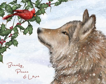 Wolf Holiday Greeting Card Set of 10, Wolf Christmas Card, New Year's Cards, Wolf Holiday Cards, Christmas Cards, Birds, Cardinals, Wolves