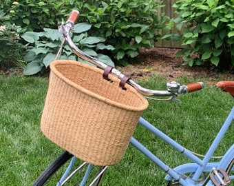ROSELI Retro Wicker Bicycle Front Basket with Leather Straps Handmade
