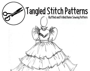 Ruffled and Frilled Pantomime Dame Sewing Pattern PAPER PATTERN