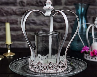 Krone decorative crown made of metal in vintage style with lantern for garden decoration and living decoration