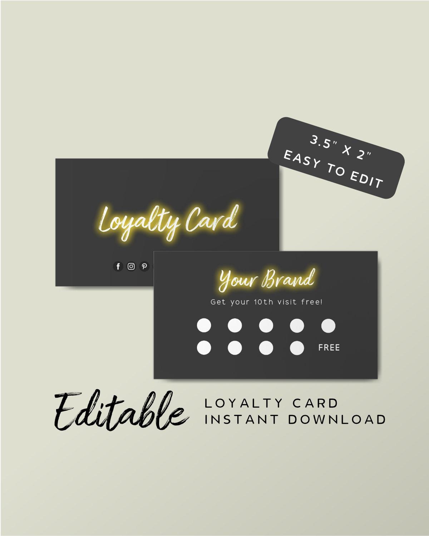 Editable Rewards Card Template - Beauty Salon Loyalty Card Design, Neon  Light Card, Luxury Loyalty Cards, Black Stamp Card, Neon Sign Inside Customer Loyalty Card Template Free